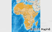Political Shades Map of Africa, shaded relief outside, bathymetry sea