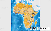 Political Shades Map of Africa, single color outside
