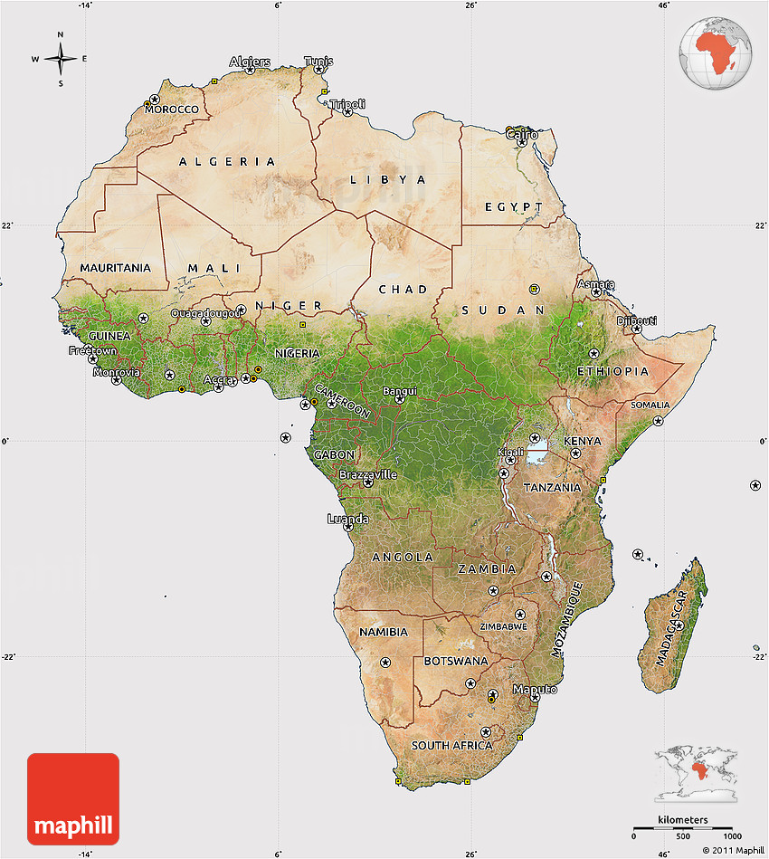 Satellite Map Of Africa Cropped Outside