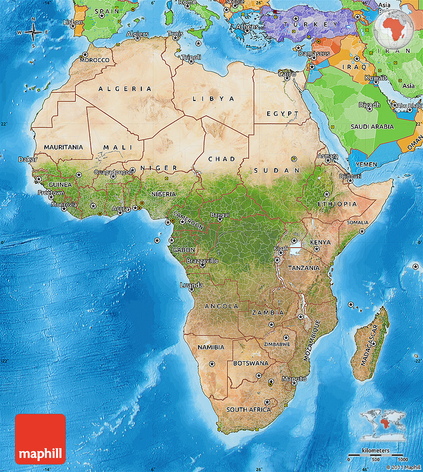 Satellite Map Of Africa Political Outside