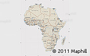 Shaded Relief Map of Africa, cropped outside