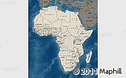 Shaded Relief Map of Africa, darken