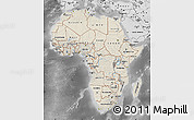 Shaded Relief Map of Africa, desaturated