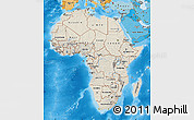Shaded Relief Map of Africa, political shades outside, shaded relief sea