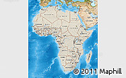 Shaded Relief Map of Africa, satellite outside, shaded relief sea