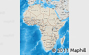 Shaded Relief Map of Africa, semi-desaturated, land only