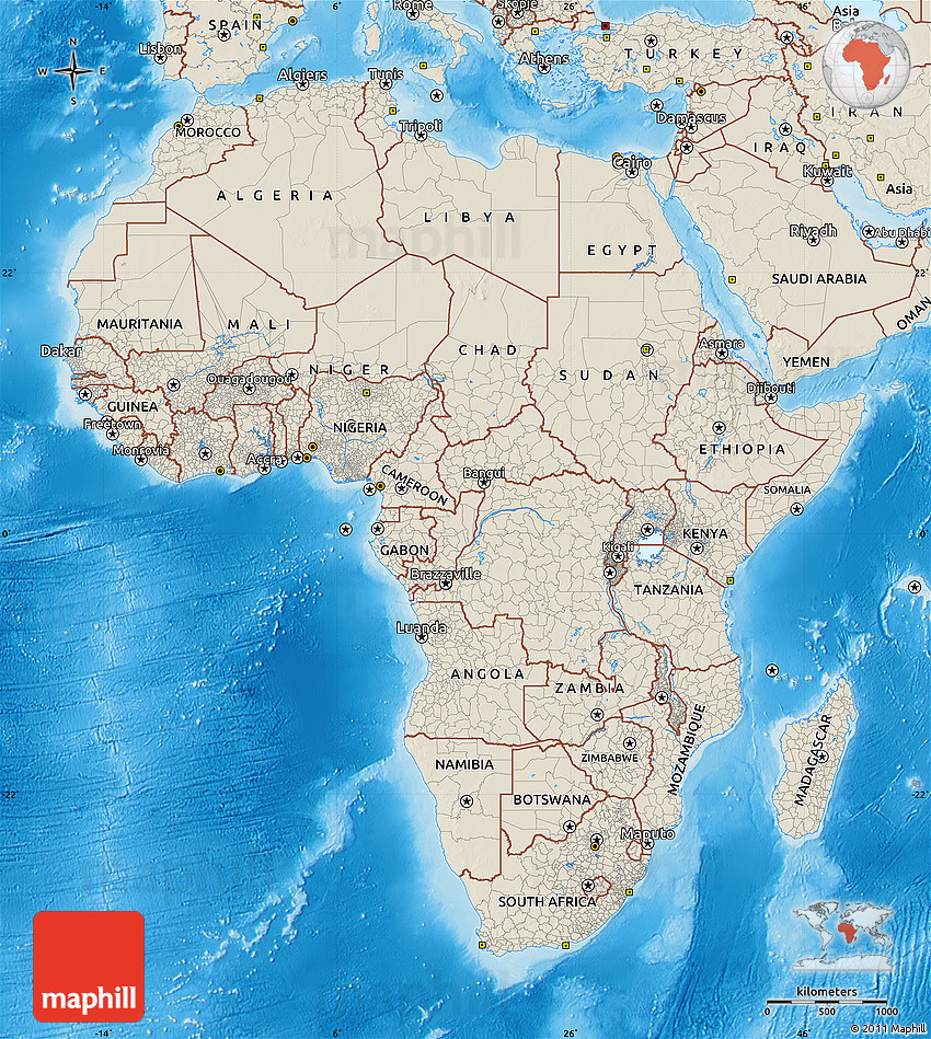 Map Of Asia Land Features.Shaded Relief Map Of Africa