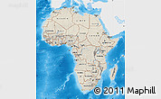 Shaded Relief Map of Africa, single color outside