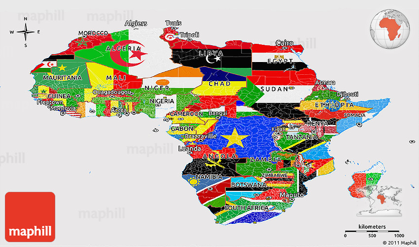 Map Of Africa With Flags.Flag Panoramic Map Of Africa
