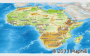 Physical Panoramic Map of Africa, lighten, semi-desaturated, land only