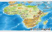 Physical Panoramic Map of Africa, political shades outside, shaded relief sea