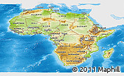 Physical Panoramic Map of Africa, single color outside, bathymetry sea, shaded relief sea
