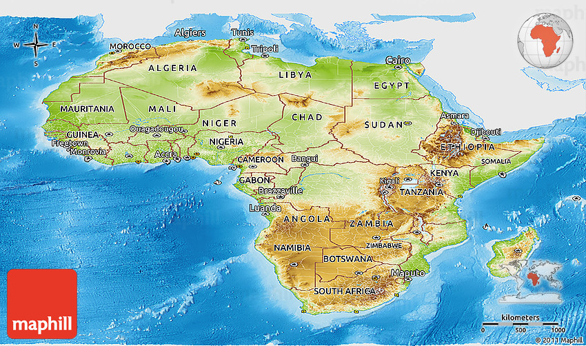 Physical Panoramic Map of Africa, single color outside