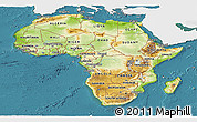 Physical Panoramic Map of Africa, single color outside, satellite sea