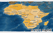 Political Shades Panoramic Map of Africa, darken