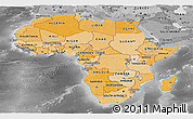 Political Shades Panoramic Map of Africa, desaturated