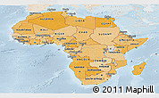 Political Shades Panoramic Map of Africa, lighten