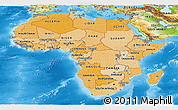 Political Shades Panoramic Map of Africa, physical outside
