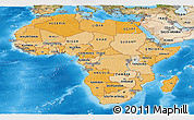 Political Shades Panoramic Map of Africa, satellite outside, bathymetry sea