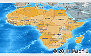 Political Shades Panoramic Map of Africa, semi-desaturated, land only