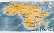 Political Shades Panoramic Map of Africa, semi-desaturated