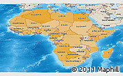 Political Shades Panoramic Map of Africa, shaded relief outside, bathymetry sea