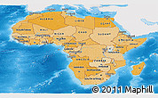 Political Shades Panoramic Map of Africa, single color outside