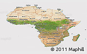 Satellite Panoramic Map of Africa, cropped outside