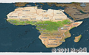 Satellite Panoramic Map of Africa, darken