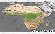 Satellite Panoramic Map of Africa, desaturated