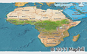 Satellite Panoramic Map of Africa, political shades outside, satellite sea