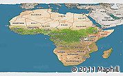 Satellite Panoramic Map of Africa, semi-desaturated, land only