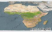 Satellite Panoramic Map of Africa, semi-desaturated
