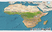 Satellite Panoramic Map of Africa, shaded relief outside, satellite sea