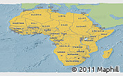 Savanna Style Panoramic Map of Africa, single color outside
