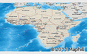 Shaded Relief Panoramic Map of Africa, semi-desaturated, land only