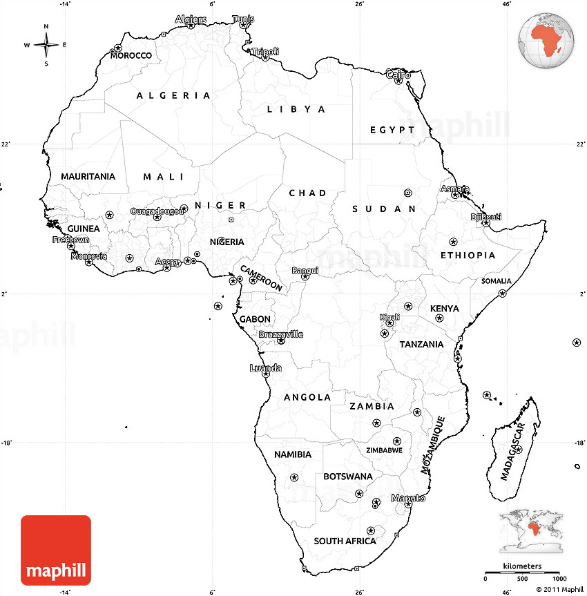 Blank Simple Map of Africa, cropped outside
