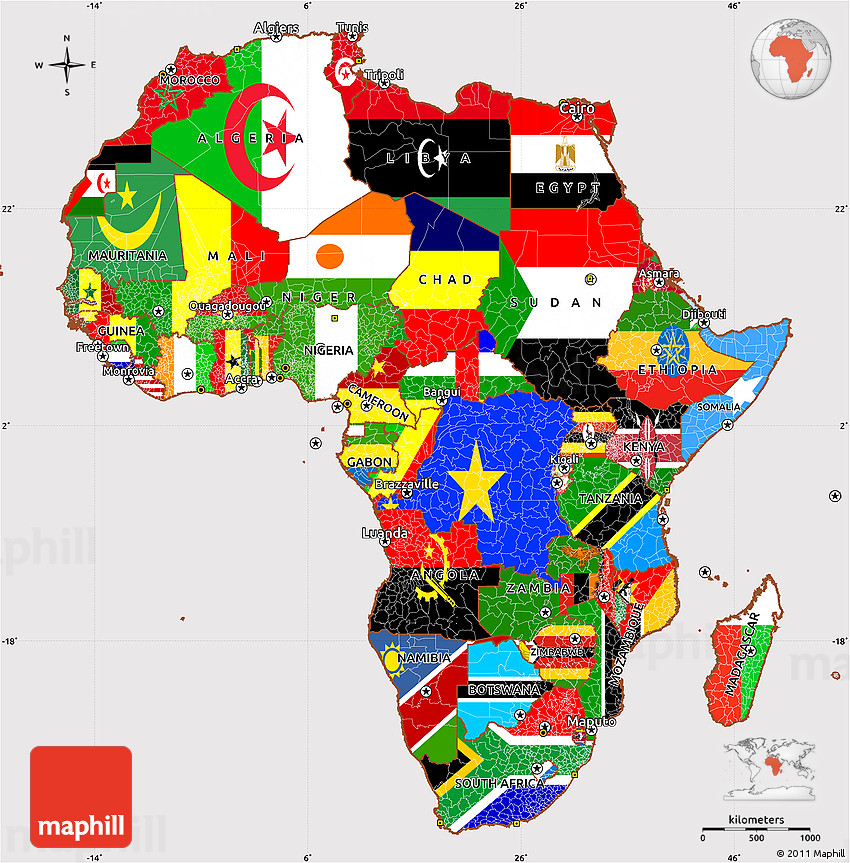 Flag Simple Map Of Africa - Maps of africa