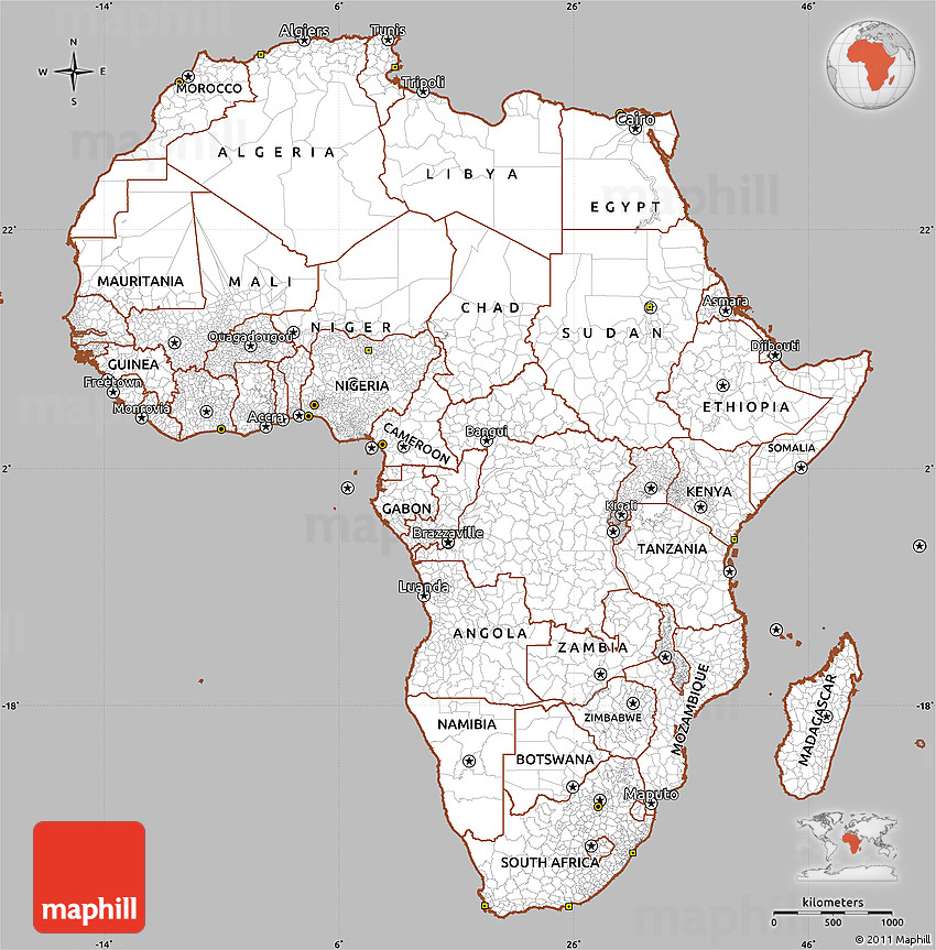 Gray Simple Map Of Africa, Cropped Outside
