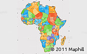 Political Simple Map of Africa, cropped outside