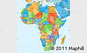 Political Simple Map of Africa, political shades outside
