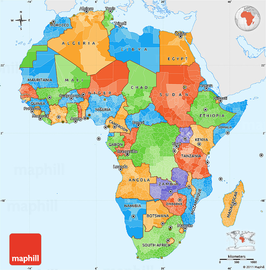 Political simple map of africa single color outside westnortheast gumiabroncs Image collections