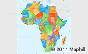 Political Simple Map of Africa, single color outside