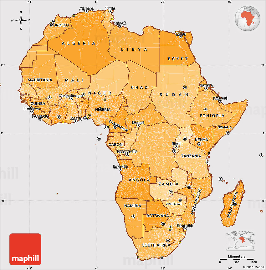 Map Of Africa Political.Political Shades Simple Map Of Africa Cropped Outside