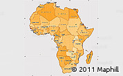 Political Shades Simple Map of Africa, cropped outside