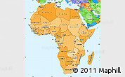 Political Shades Simple Map of Africa, political outside