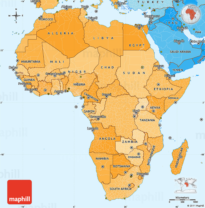 Political Shades Simple Map of Africa