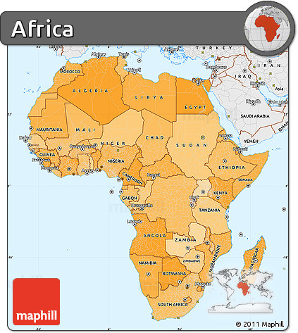 Free Political Shades Simple Map Of Africa Single Color Outside