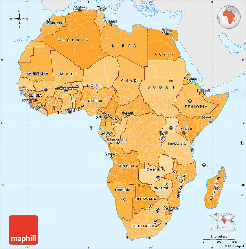 Political Shades Simple Map of Africa, single color outside