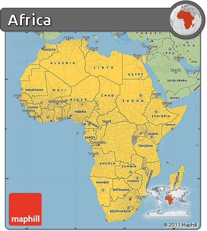 Savanna Style Simple Map of Africa